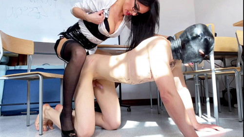 Femdom and Strapon Strapon lesson with Evil Teacher 1080p