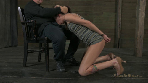 BDSM Sexy part time fashion model is bound, face fucked