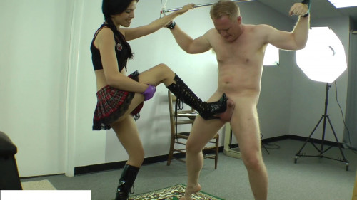 Femdom and Strapon Miss Tiffany Learns to Skewer Testicles