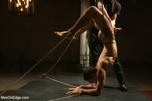Gay BDSM Extreme edging with advance bondage positions