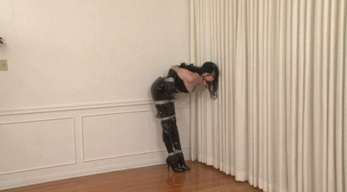 bdsm Bound and Gagged - Boots and Shiny PVC in Bondage - Ikaras ties Mary Jane