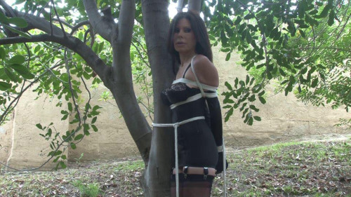 BDSM Tied to a Tree in Lingerie Behind the Scenes Ashley Renee