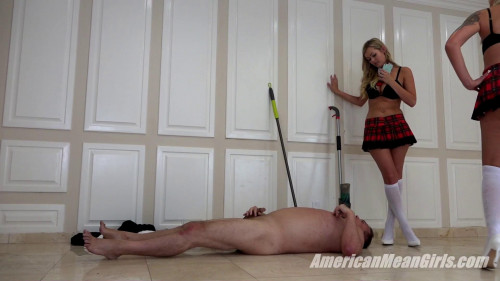 Femdom and Strapon Goddess Nina Elle and Princess Chanel School Girls Bully Janitor