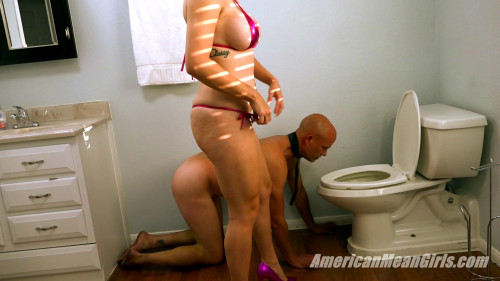 Femdom and Strapon Princess Carmela -  Up Toilet Boy