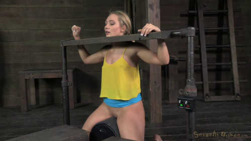 BDSM Beautiful blonde AJ Applegate stuck in stocks