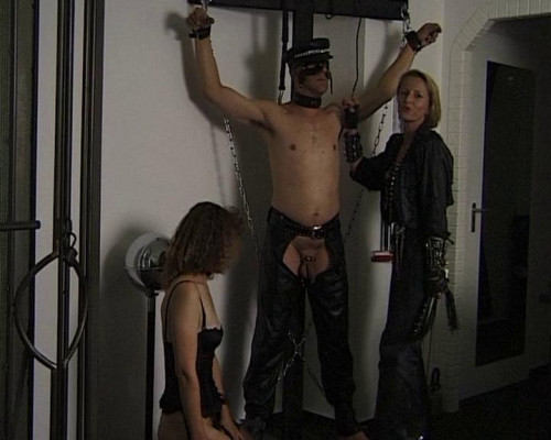 Femdom and Strapon Two dommes for slave