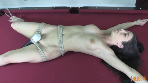 BDSM Serena Bound and Cumming on Pool Table