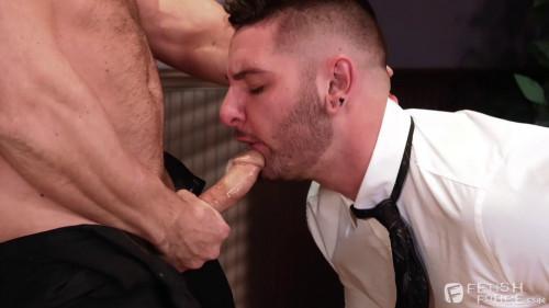 Gay BDSM Fucking three at a business meeting