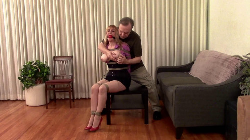 BDSM The Lost Bet Secretary Lorelei Ballgagged Bound Groped StuffGagged Vibed