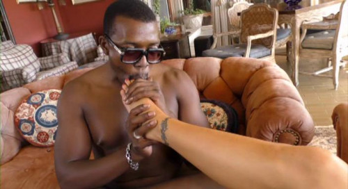 Femdom and Strapon Black Meat White Feet 2