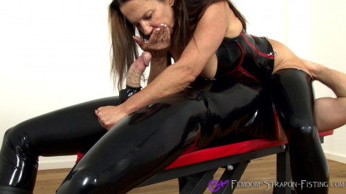 Femdom and Strapon Milking The Hard