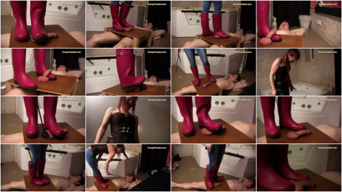 Femdom and Strapon Young-femdom - My red rubber boots...