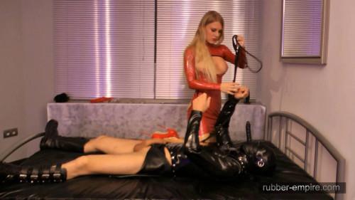 Femdom and Strapon Rubber Slut Training