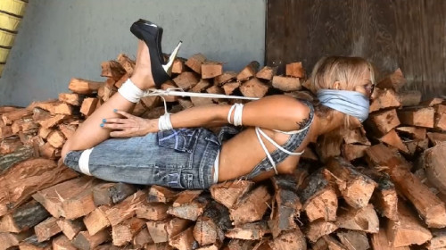 bdsm Hard bondage, hogtie and suspension for young blonde