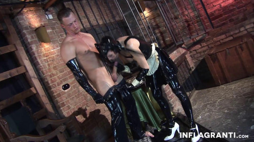 Femdom and Strapon Black Lady - Latex Slave