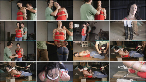 BDSM Wenona Hogtied in Jeans and Boots