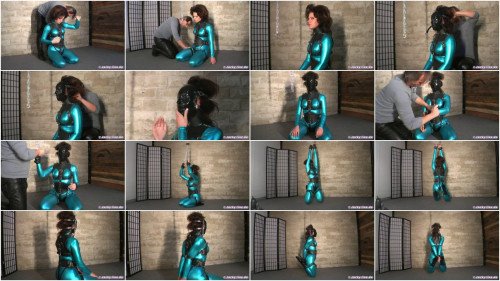 BDSM Latex Tight bondage and strappado for beautiful brunette