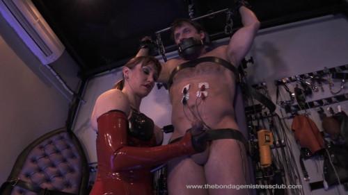 Femdom and Strapon Mistress Miranda Electric Milking