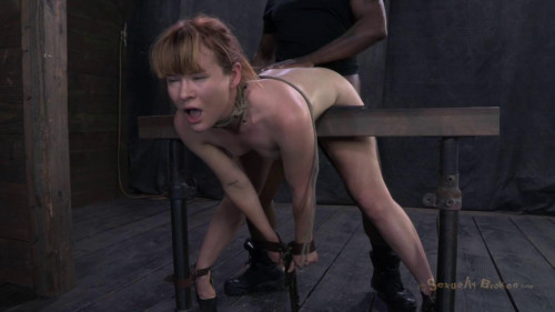 BDSM Claire Robbins bent over, fucked from both directions in high heals