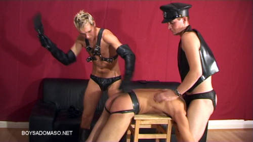 Gay BDSM Double Spanking for a Boot-Boy HOTTIE