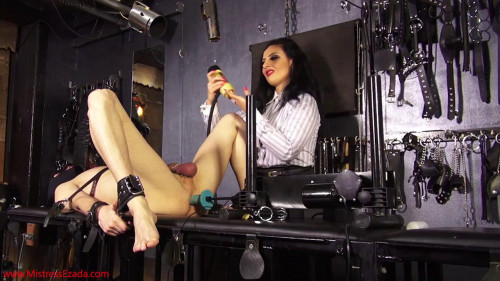 Femdom and Strapon Machine fucking and milking