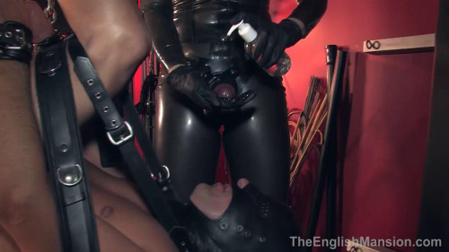 Femdom and Strapon Trussed Up And Pegged