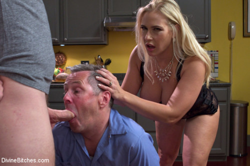 Femdom and Strapon Cuckold my husband with his adopted son