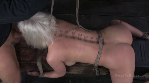 BDSM Cherry Torn Lashed To A Beam And Stuffed Full Of Cock From Both Ends!