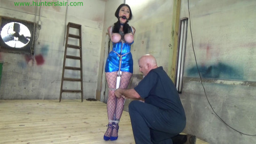 BDSM Latex Tied up & stretched out for breast bound orgasms