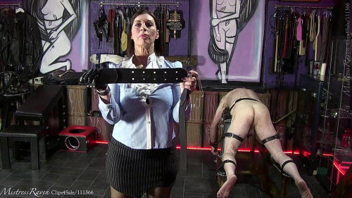 Femdom and Strapon Strap and Cane Feel His Pain