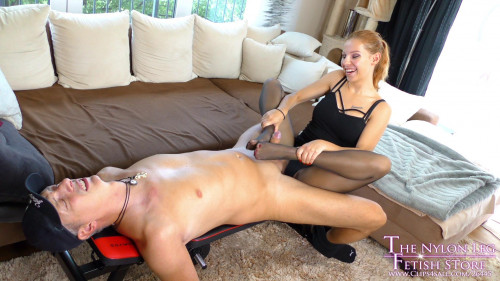 Femdom and Strapon Lurina Footjob from personal trainer