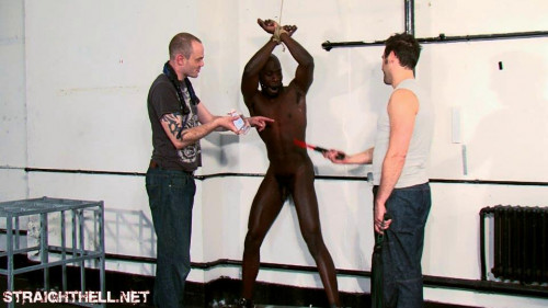 Gay BDSM Roped up against the wall, oiled up and thrashed with floggers
