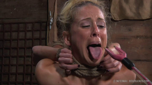 BDSM Tight bondage, spanking and domination for two naked girls