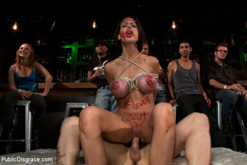 BDSM Big Tittied McKenzie Lee is Disgraced in Public Bar