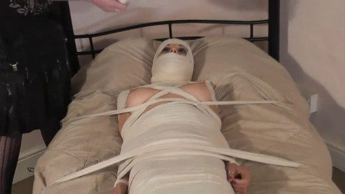 BDSM Tight bondage, domination and mummification for hot brunette HD 1080