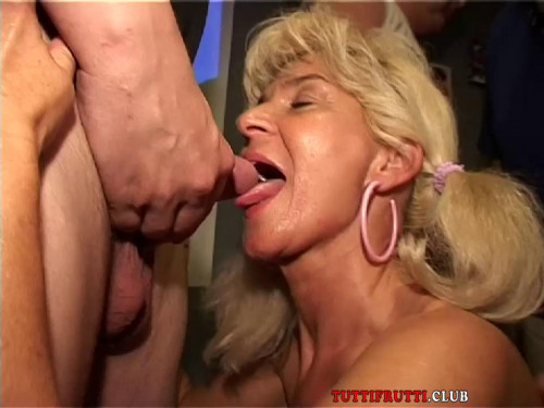 Fisting and Dildo Monica double fisted on public orgy