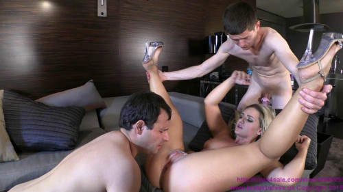 Femdom and Strapon Cali Carter - Fucked By Stud With Two Chastity Cucks Serving
