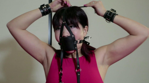 bdsm Self Bondage with Cuffs and Collar