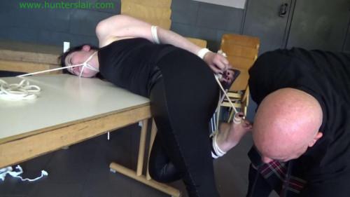 BDSM Hunterslair - Loretta De Monet - Table tied and ticled