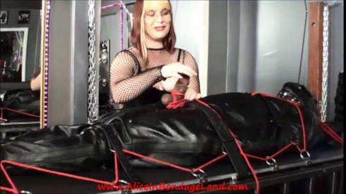Femdom and Strapon Ebony Muscleman Leather Sleepsack Bondage FemDom CBT Handjob