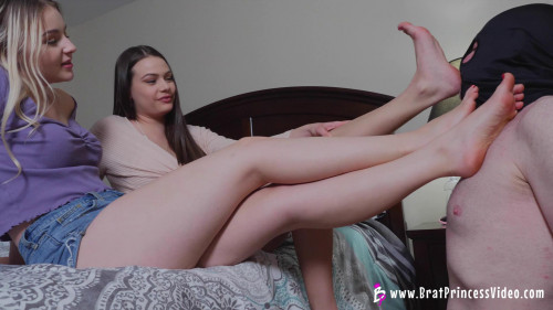 Femdom and Strapon Ivory and Kat - Despised Loser must Worship their Feet