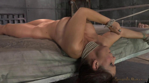 Femdom and Strapon Syren De Mer tied down and fucked hard without by mercy by two cockslow