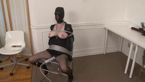 bdsm Bound and Gagged - Office Slave in Hood and Secretary Suit has Bondage Orgasm