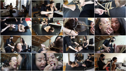 BDSM Hard bondage, hogtie and torture for sexy hot angel