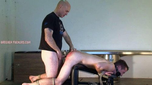 Gay BDSM Tied to a spanking bench for Shamus