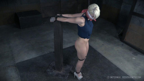 BDSM Big tit slave enjoys rope & metal bondage