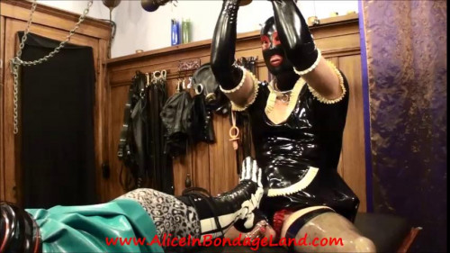 Femdom and Strapon Alice Wins Her Footjob Bet - Metal Bondage Latex Chastity Sissy Maid