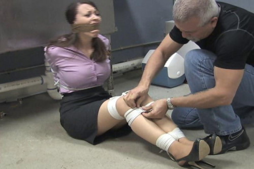 BDSM Serene Isley-Waitress tied up and gagged in the back room