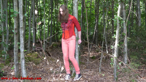 BDSM I love Bondage - Handcuffed in the forest