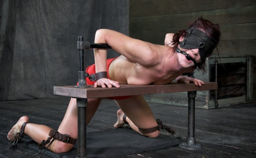 bdsm Tall sexy hot MILF bound is custom metal and leather bondage